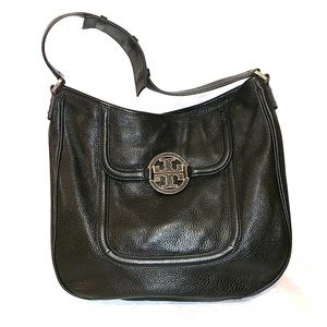 Tory Burch Black Pebbled Leather Hobo Bag